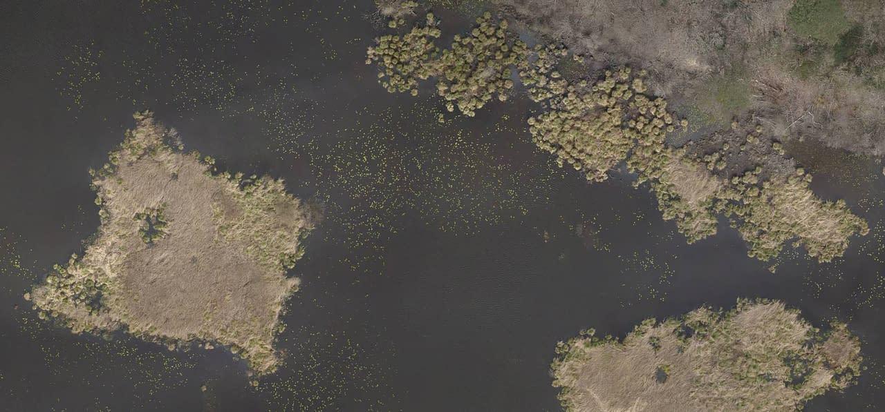relevé drone étang pour étude environnementale